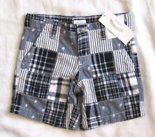 Gymboree Dressed Up Seashore Navy Blue Sailboat Plaid Patchwork Shorts Boys 3T