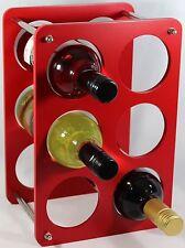 Wine Bottle Rack- 6 Bottle Holder storage Beautiful Gift Red Free Standing