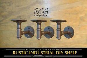 "Three 2x4"" L Brackets DIY Pipes B (8""-10"" deep shelf) urban steampunk rustic"