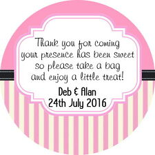 24 OR 35 PERSONALISED,CANDY BAG STICKERS FOR WEDDING FAVOUR SWEETS GLOSS FINISH
