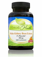 White Kidney Bean Extract 500mg 100 Capsules 1% Phaseolin Carb Blocker