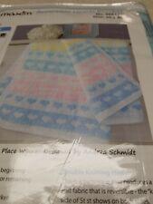 """New Mary Maxim Reversible Hearts Blanket Kit 30"""" X 40"""""""
