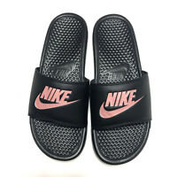 Nike Benassi JDI Slides Sandals Black Rose Gold Womens Size 11 343881-007