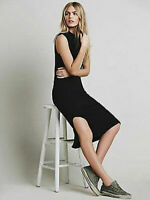 Free People Intimately Muscle Ribbed Bodycon Mid Dress Womens Xs-L Black $78
