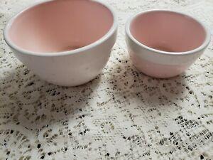 "Terramoto Ceramic Set Of Two Pink Polka Dots Nesting Bowls Kitchen White 5"" 4"""
