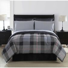Sears 8 Pc York Plaid Bed in a Bag ~ Queen 86 x 90 ~ Red Gray Black *New*