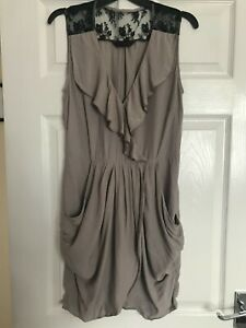 Miss Selfridge frill front and lace shoulder dress, Size 12