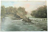 Antique Oil Painting Folk Art RIVER LANDSCAPE Country Primitive VICTORIAN WATER