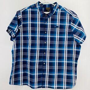 Boulder Creek Men's Sz 5XL Big Button down Short Sleeve Shirt Blue Cotton Plaid