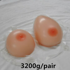 3200g/pair Crossdress Silicone Breast Forms With Straps Transgender H Cup