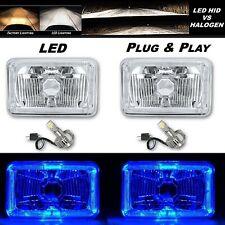 4X6 Blue Halo Angel Eye H4 Crystal Clear Headlight Headlamp w/ 6k LED Bulb Pair