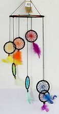 DREAM CATCHER Wind Chime Mobile RAINBOW Colours Native Indian Hanging 18cm