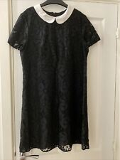 F&F Black Collared, Floral Lace Dress. Size 14 RRP £20 Great Condition