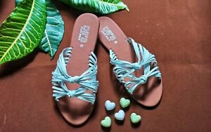 100%Handmade Ladies cross Tie outside sandal with thin White Straps and Knots