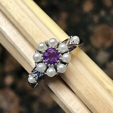Natural Freshwater Seed Pearl, Purple Amethyst 925 Solid Sterling Silver Ring 9