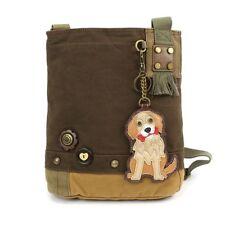 DARK BROWN Chala Patch Crossbody Bag Canvas Messenger  GOLDEN RETRIEVER Dog gift