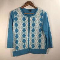 Talbots Women's Size M Argyle Blue  Diamond Sweater Button Front 3/4 Sleeve