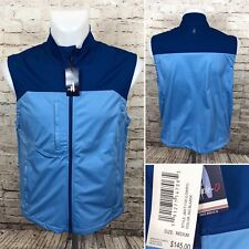 johnnie-O Lowry Double Zip Soft Shell Vest JMVT1120 922 Blazer Blue Sz M $145