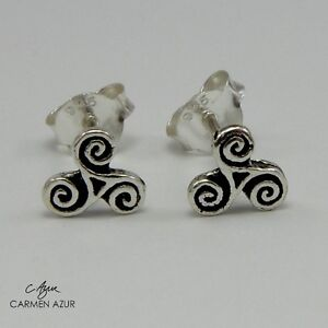 Solid 925 Sterling Silver Stud Earrings Triskele Celtic Symbol New with Gift Bag