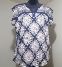 Orvis Womens Henley Shirt Top Multi print size Large/Extra Large  XL 14-16  NEW