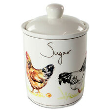 Country Life Chickens Fine China Sugar Canister Jar Home Kitchen Storage Jars