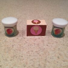 BARBIE DOLL HOUSE KITCHEN FOOD 3 ICE CREAM CONTAINERS