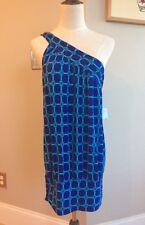 NEW YORK & COMPANY Royal Blue One Shoulder Geometric Print Tunic Top - Womens M