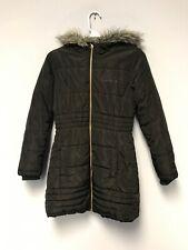 Calvin Klein Jean Women Jacket Down Puffer Coat Black Faux Fur Hood Size M