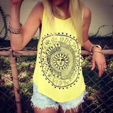 Women Summer Sun Print Vest Top Sleeveless Shirt Blouse Casual Tank Tops T-Shirt