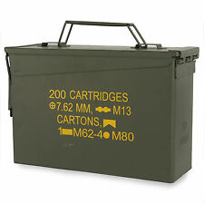 US Army Military M19A1 50 CAL Medium Steel Metal Ammo Tool Storage Box Tin Green