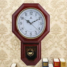 Antique Vintage Wooden Retro Style Vintage Wood Wall Clock with Pendulum NEW HP