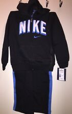 NIKE Boys' Warm-Up Hooded Jacket & Stripe Pants Set BLACK MULTI Size 4T NEW Tags