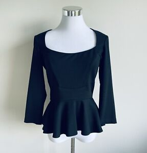 Cue Size 10 Black Long Sleeve Peplum Top