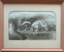 Antique Pencil drawing of 2 dogs signed with monogram ? H.a.l.m