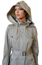 NEW BURBERRY BRIT $750 HOODED TRENCH BEIGE PEPLUM SAFARI COAT JACKET~14 48
