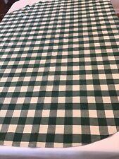 """Vintage Tablecloth Round Green & White Plaid Check Cotton 64""""Dia."""
