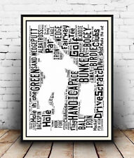 Cricketing sporting terms and words Spelled out in poster Cricketer Wall art.