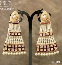 USA Indian Pakistani Jewelry Asian Pearl Moti White Jhumki Bali Jhumka earrjng
