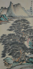 Vintage Chinese Watercolor PINE TREE LANDSCAPE Wall Hanging Scroll Painting