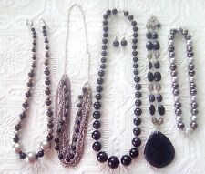 Beautiful Black beaded jewelry. Necklace with pendant. magnetic ball clasp +