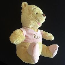 Plush Winnie Pooh Bear Pink Pastel Baby Infant Nursery 12 Inch Stuffed Animal