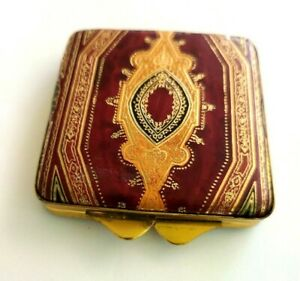 Vintage Italian Leather Gold Stamped Florentine Embossed Powder Compact.