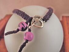 Bracelet de l'amitié macramé violet * Fermoir  Coeur * Fait main au point noué
