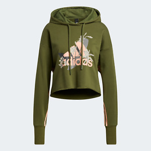 adidas Originals Womens A casual cropped hoodie with Nini Sum floral graphics