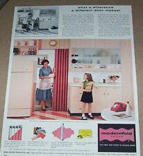 1957 print ad - Modernfold Doors little girl family kitchen New Castle Indiana
