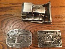 100 Years American Railroading Belt Buckle, Farm Toy Capitol Belt Buckle, & John