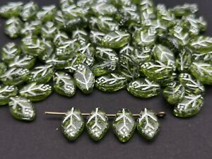 Czech pressed beads flat leaf green with silver lining 12 x 7 mm pack of 30