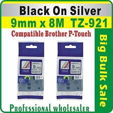 9mm x 8m Black on Silver Compatible Brother TZ-921 P-Touch Laminated Label Tape