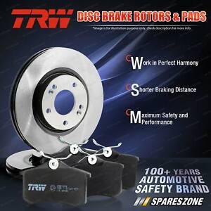 Rear TRW Disc Rotors + Brake Pads for Peugeot 405 15BD 15ED 4B Front Wheel Drive