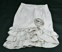 REVIEW Womens Bone / Beige Flower Rosette Frilly Edge Pencil Work Skirt Size 6